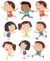 Niños corriendo vector