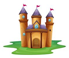 Un castillo con tres banderas.