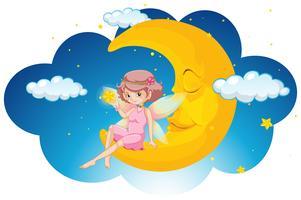 Leuke fee zittend op de maan in de nacht