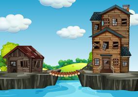 Schäbiges Haus neben Wasser