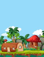 Mushroom wooden house in nature vector