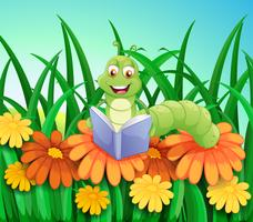 A worm reading a book at the garden