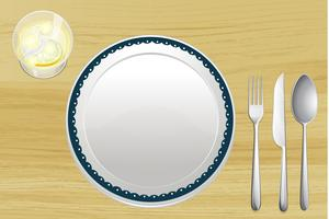 Empty plate and a bowl of lemonade