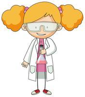 Meisje in het karakter van de laboratoriumjas