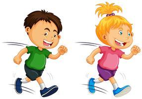 Kids Running on White Background