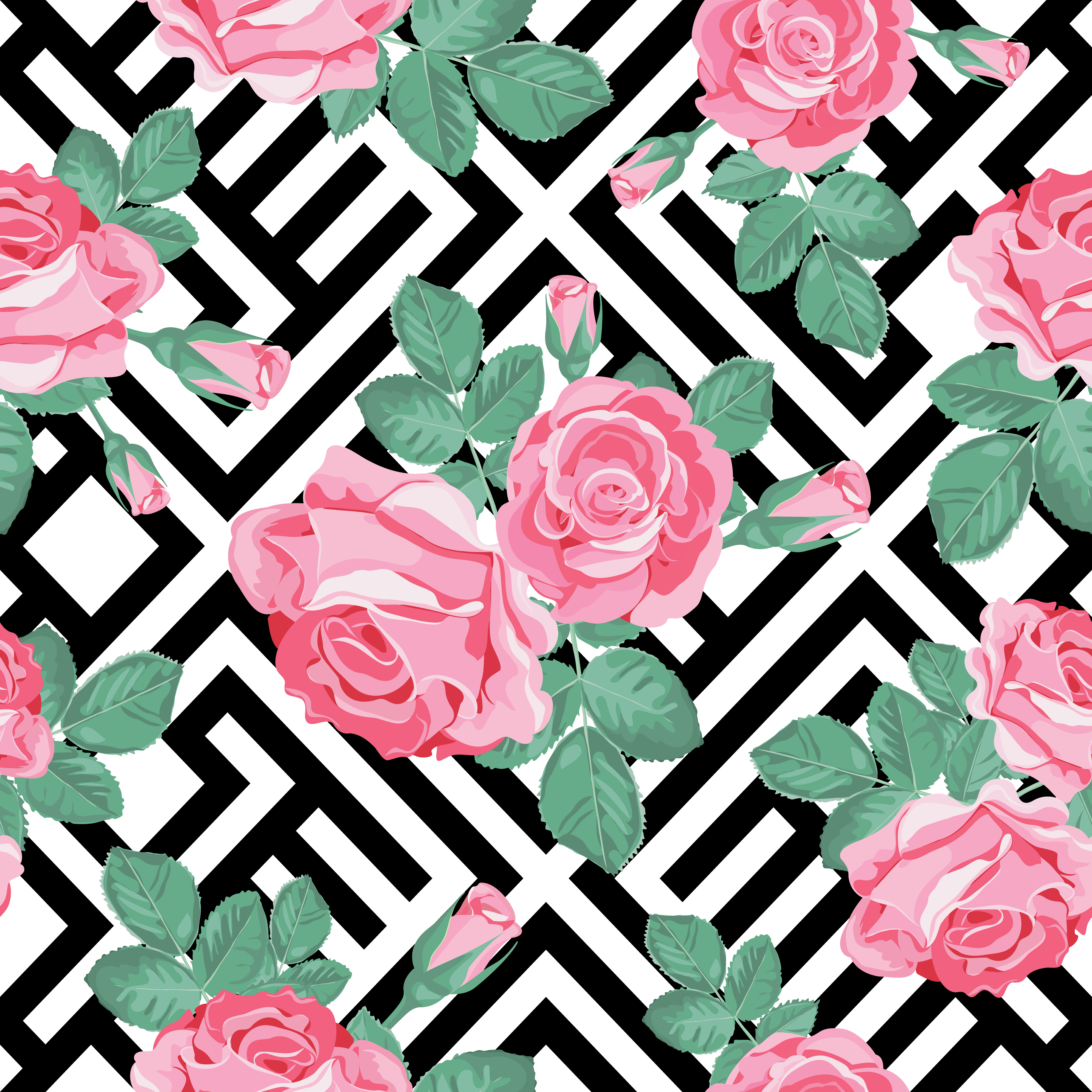 Floral Seamless Pattern Pink Roses With Leaves On Black And White
