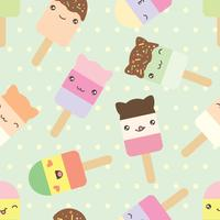 pattern of cute kawaii style ice cream bars  vector