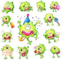 Conjunto de monstruos verdes