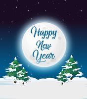 Plantilla de tarjeta de año nuevo al aire libre
