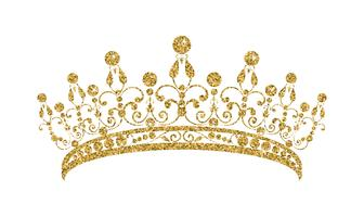 Glittering Diadem. Golden tiara isolated on white background. vector