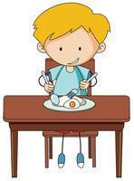 Doodle boy eating breakfast