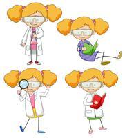 Conjunto de científico doodle