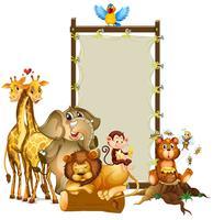 Design de moldura com animais selvagens