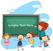 Modello di cornice con insegnante e studenti