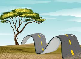 Route courbe dans le champ vert