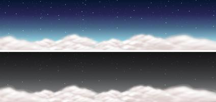 Two sky scenes with clouds and dark sky