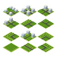 City quarter top view landscape isometric 3D projection