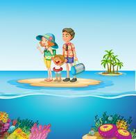 Familj resa till havet