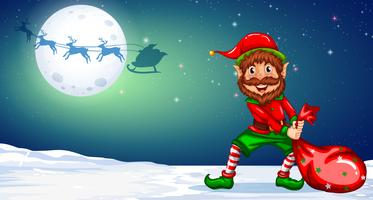 Christmas elf in winternight background