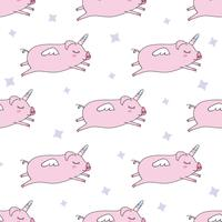 Seamless pattern background. Cute pig as pegasus and unicorn.