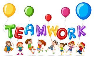 Niños con globos para la palabra trabajo en equipo.