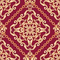 Patrón de damasco sin fisuras. Beige dorado sobre textura morada rosa con cadenas. Ilustracion vectorial