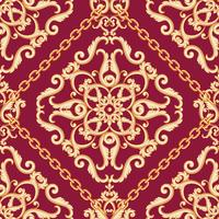 Seamless damask pattern. Golden beige on pink purple texture with chains. Vector illustration.