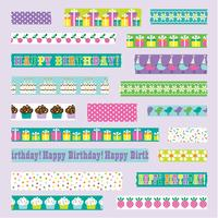 birthday washi tape vector clipart