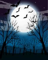Scary Dark Night Forest Background vector