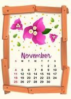 Modello di calendario per novembre