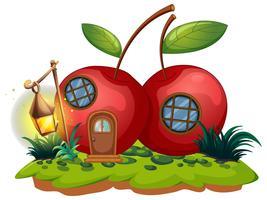 Casa de cereja com lanterna