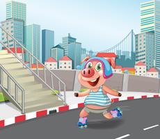 Pig playing roller skate
