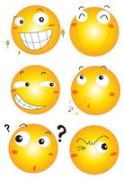 Facial expressions on yellow balls
