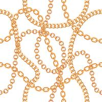 Seamless pattern background with chains golden metallic necklace. On white. Vector illustration
