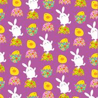 Easter bunny and chicks pattern on purple