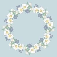 Patrón redondo floral sobre fondo azul. Ilustración vectorial