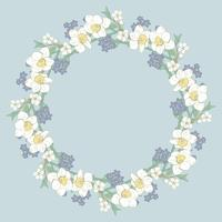 Floral round pattern on blue background. Vector illustration