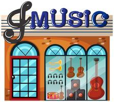 A music shop on white background