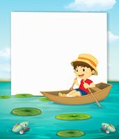 Menino, ligado, barco, bandeira