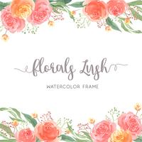 Watercolor florals hand painted with text frame border, lush flowers aquarelle isolated on white background. Design flowers decor for card, save the date, wedding invitation cards, poster, banner design.