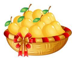 Ein Korb mit reifen Mangos