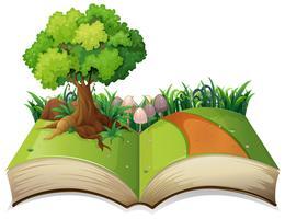 Paisagem de natureza de livro aberto vetor