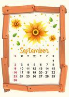 Kalendersjabloon met zonnebloem voor september