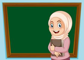 Uma garota muçulmana e banner de quadro-negro vetor