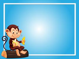 Blue background template with monkey eating banana