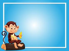 Modelo de plano de fundo azul com macaco comendo banana