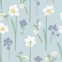 Padrão sem emenda floral. Narcisos, não me esqueças de flores e sakuras. Ilustração vetorial
