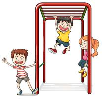 Kids playing with a monkey bars