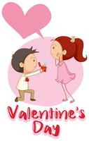 Velentine card template with boy and diamond ring