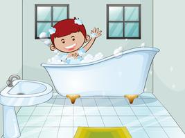 Boy taking bubble bath alone